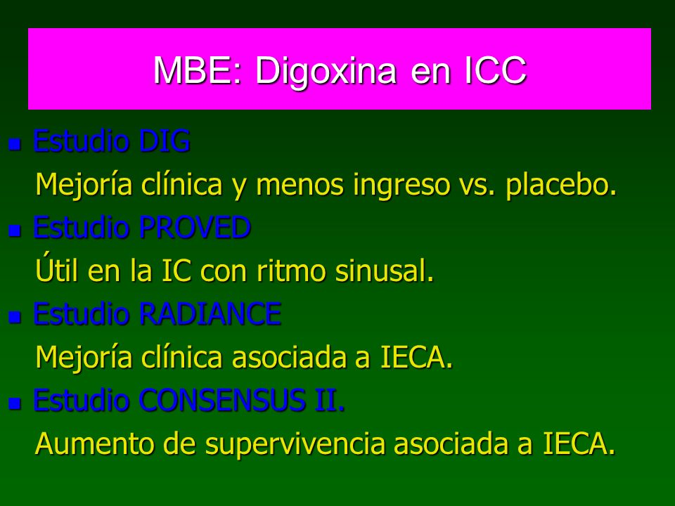MBE: Digoxina en ICC Estudio DIG