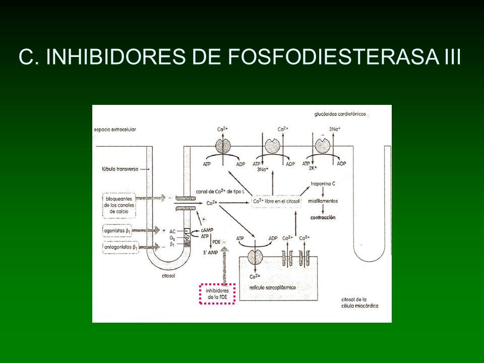 C. INHIBIDORES DE FOSFODIESTERASA III