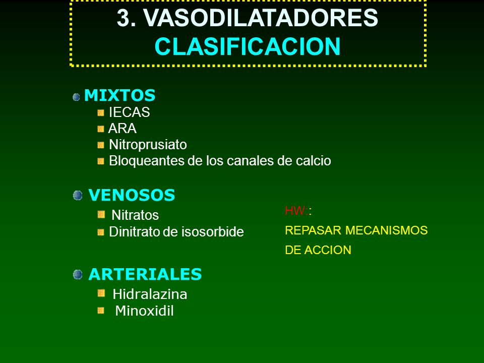 3. VASODILATADORES CLASIFICACION