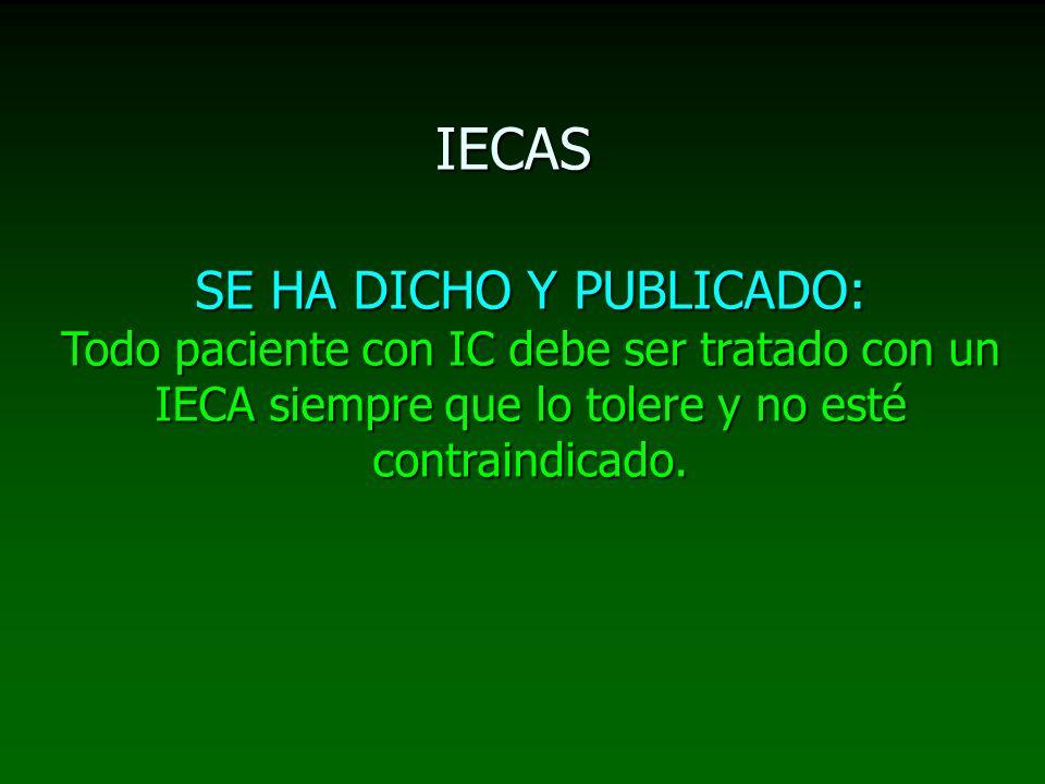 IECASSE HA DICHO Y PUBLICADO: Todo paciente con IC debe ser tratado con un IECA siempre que lo tolere y no esté contraindicado.