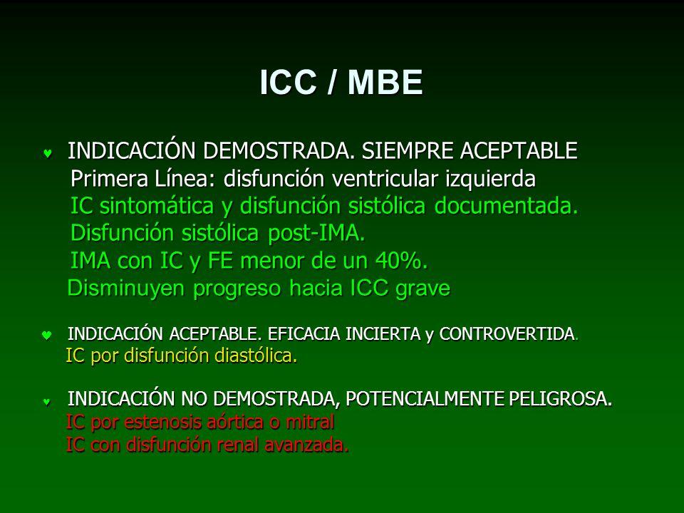 ICC / MBE INDICACIÓN DEMOSTRADA. SIEMPRE ACEPTABLE
