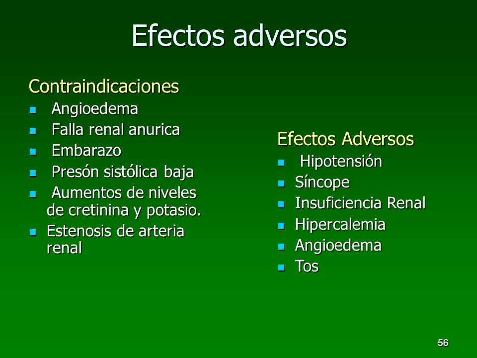 Efectos adversos Contraindicaciones Efectos Adversos Angioedema