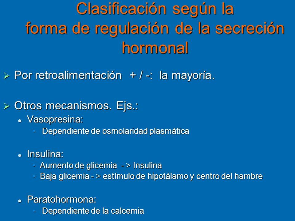 Clasificación según la forma de regulación de la secreción hormonal