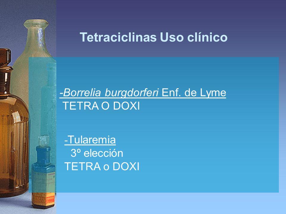 Tetraciclinas Uso clínico