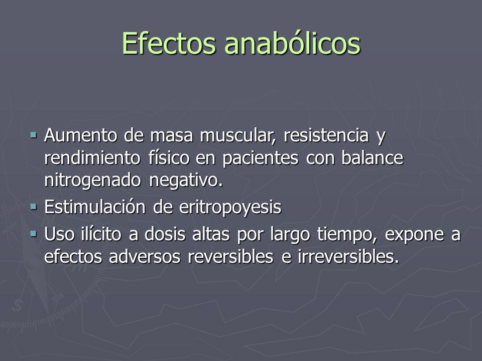 Efectos anabólicos Aumento de masa muscular, resistencia y rendimiento físico en pacientes con balance nitrogenado negativo.