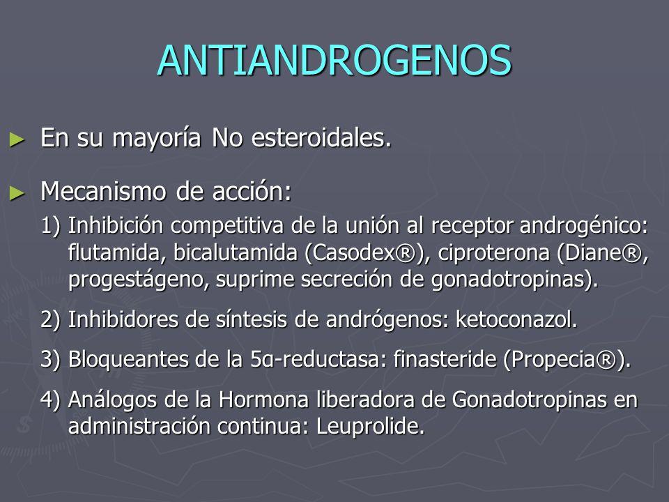 ANTIANDROGENOS En su mayoría No esteroidales. Mecanismo de acción: