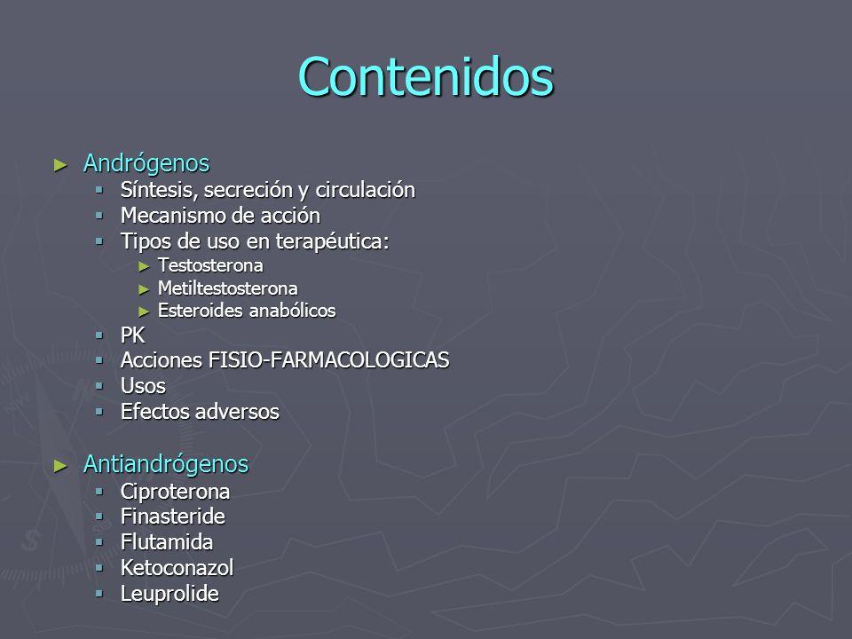 Contenidos Andrógenos Antiandrógenos Síntesis, secreción y circulación