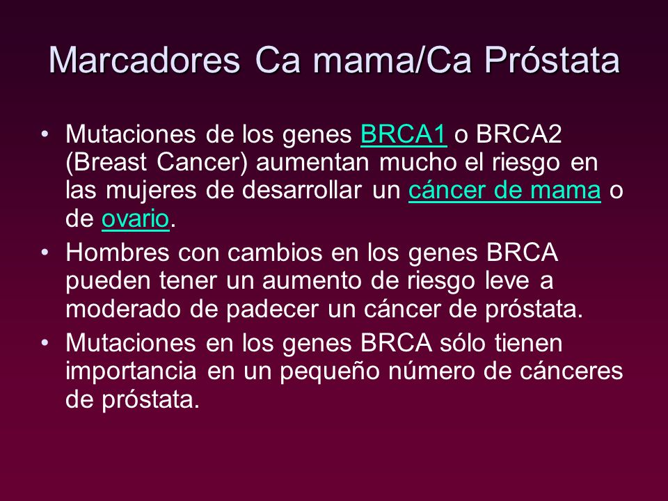 Marcadores Ca mama/Ca Próstata