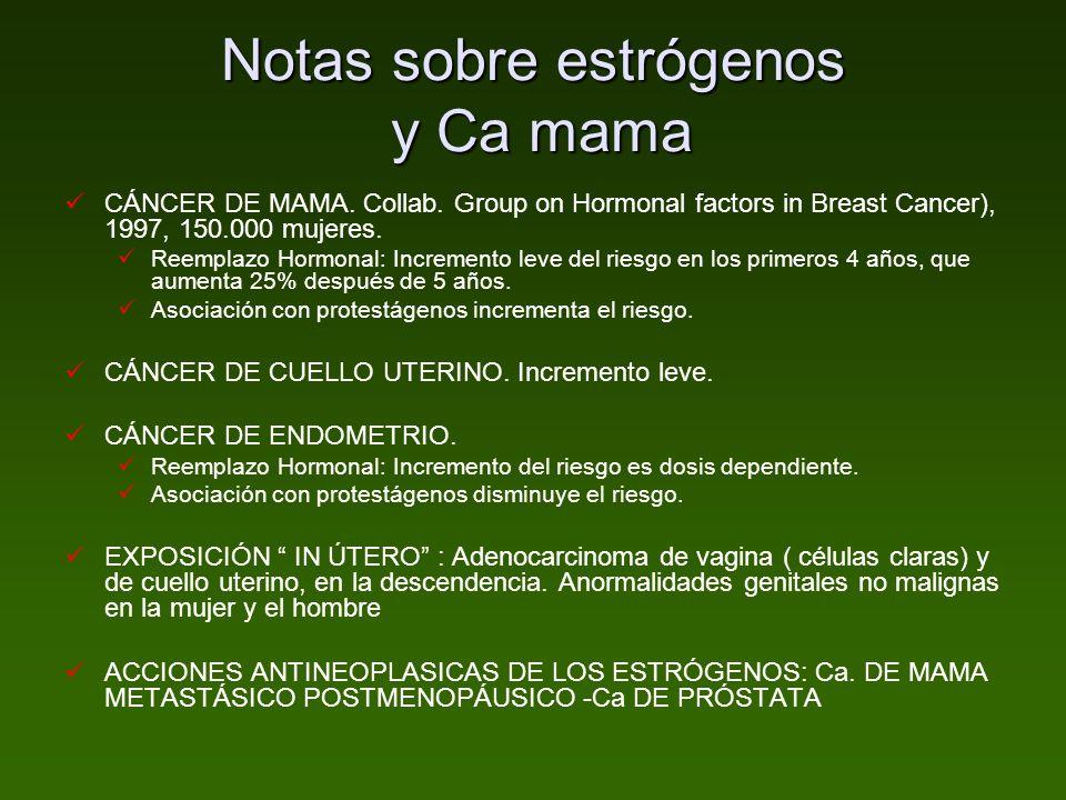 Notas sobre estrógenos y Ca mama
