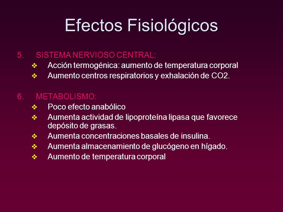 Efectos Fisiológicos SISTEMA NERVIOSO CENTRAL: