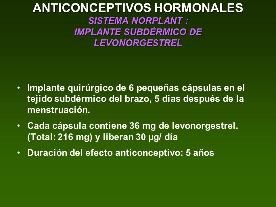 ANTICONCEPTIVOS HORMONALES SISTEMA NORPLANT : IMPLANTE SUBDÉRMICO DE LEVONORGESTREL