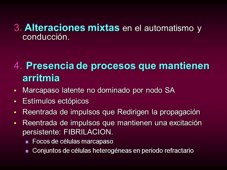 4. Presencia de procesos que mantienen arritmia