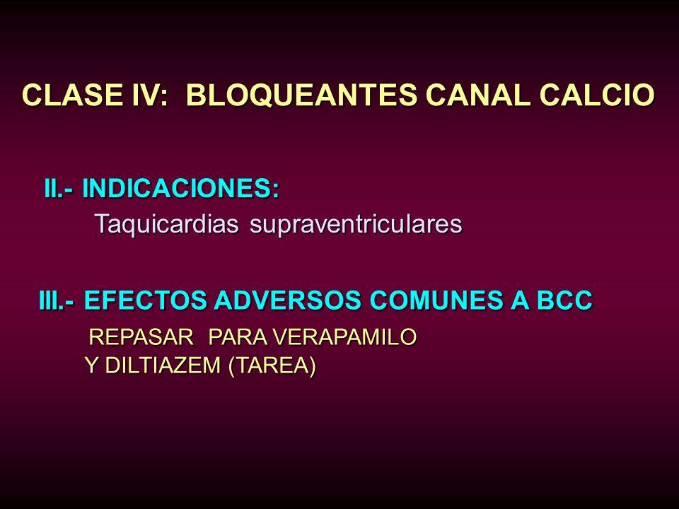 CLASE IV: BLOQUEANTES CANAL CALCIO
