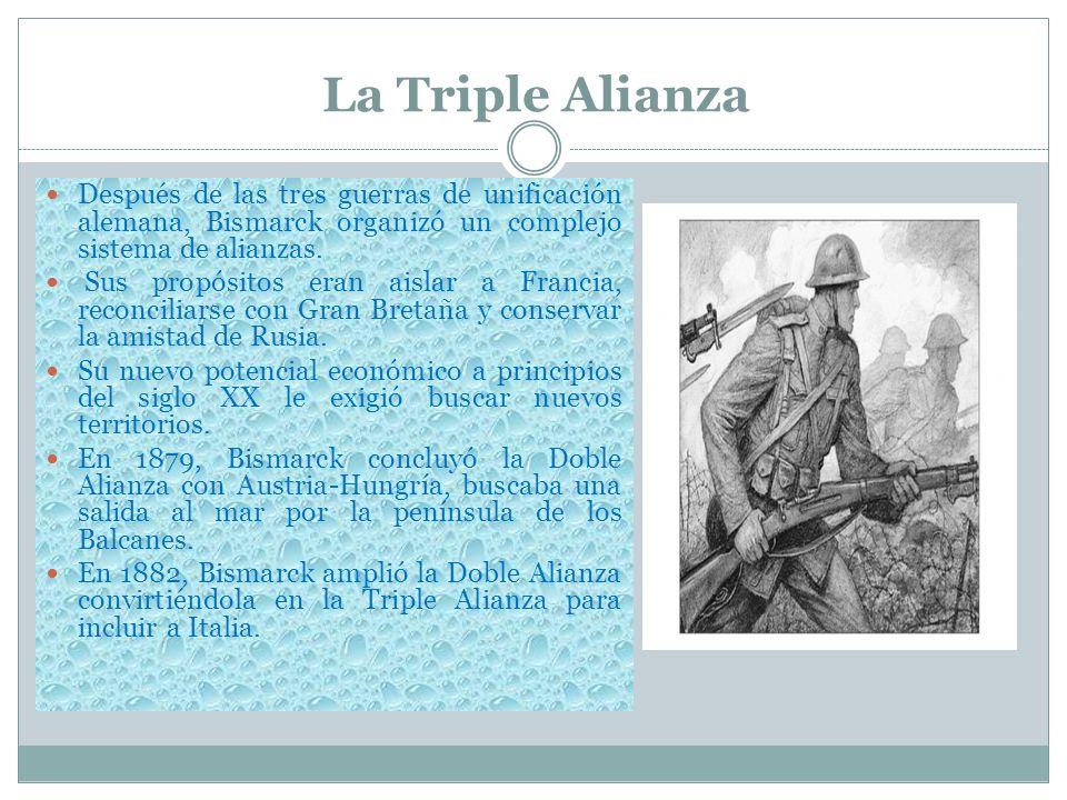La Triple AlianzaDespués de las tres guerras de unificación alemana, Bismarck organizó un complejo sistema de alianzas.