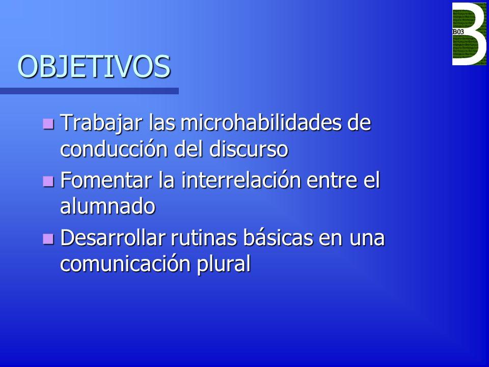 OBJETIVOS Trabajar las microhabilidades de conducción del discurso