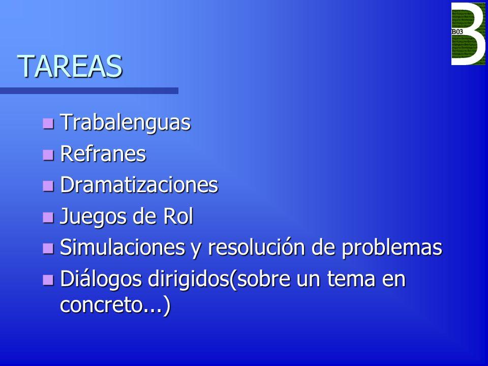 TAREAS Trabalenguas Refranes Dramatizaciones Juegos de Rol