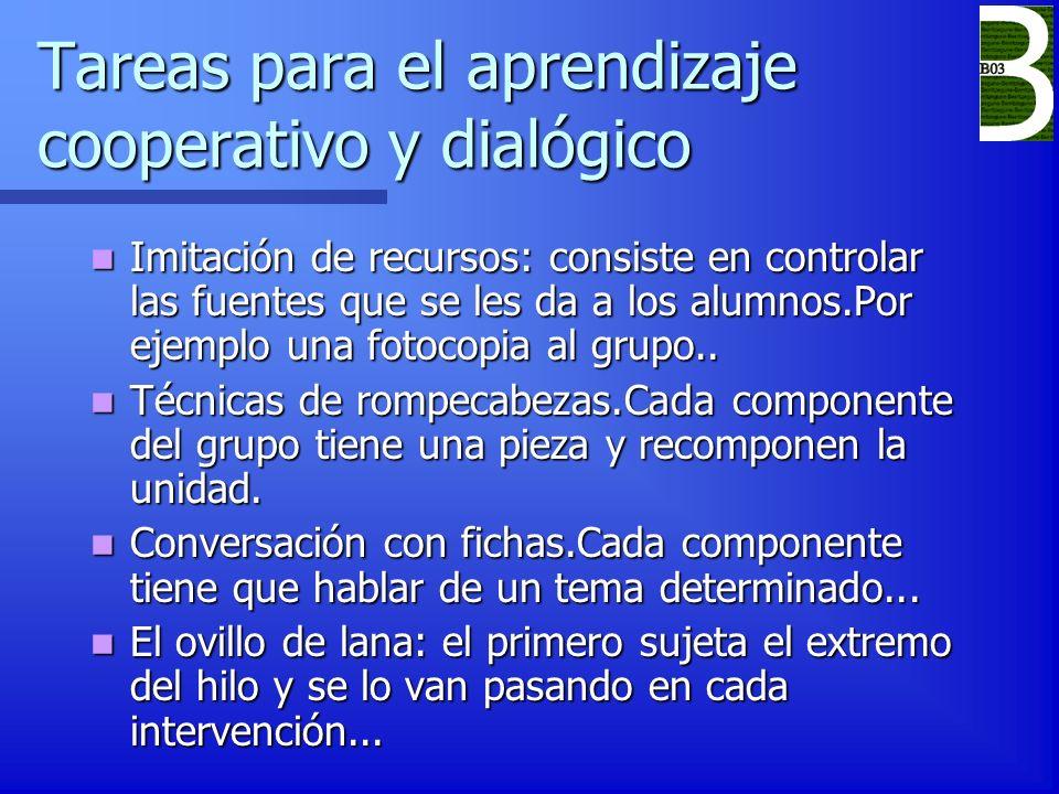 Tareas para el aprendizaje cooperativo y dialógico