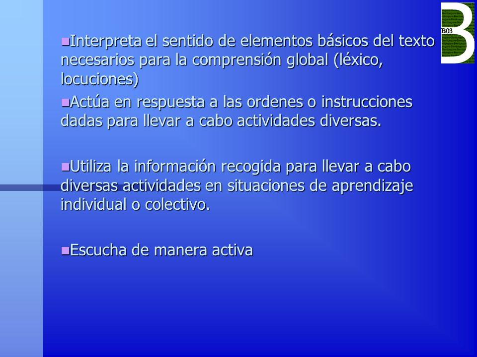 Interpreta el sentido de elementos básicos del texto necesarios para la comprensión global (léxico, locuciones)
