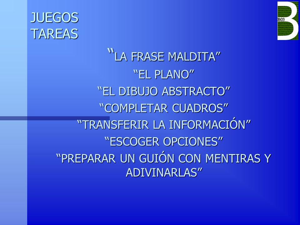 LA FRASE MALDITA JUEGOS TAREAS EL PLANO EL DIBUJO ABSTRACTO