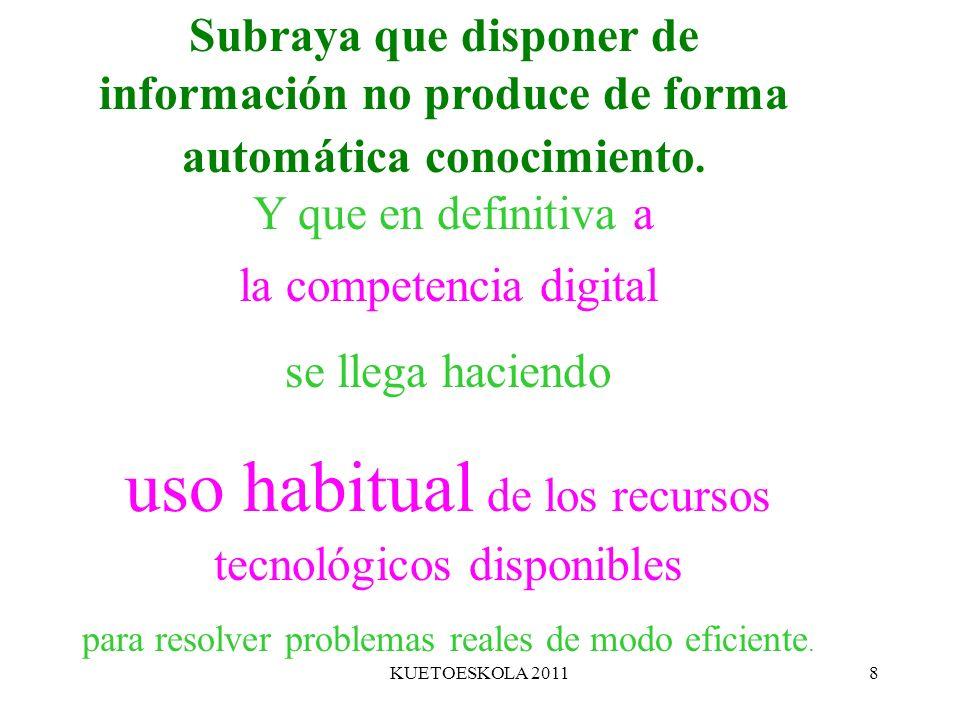 uso habitual de los recursos tecnológicos disponibles
