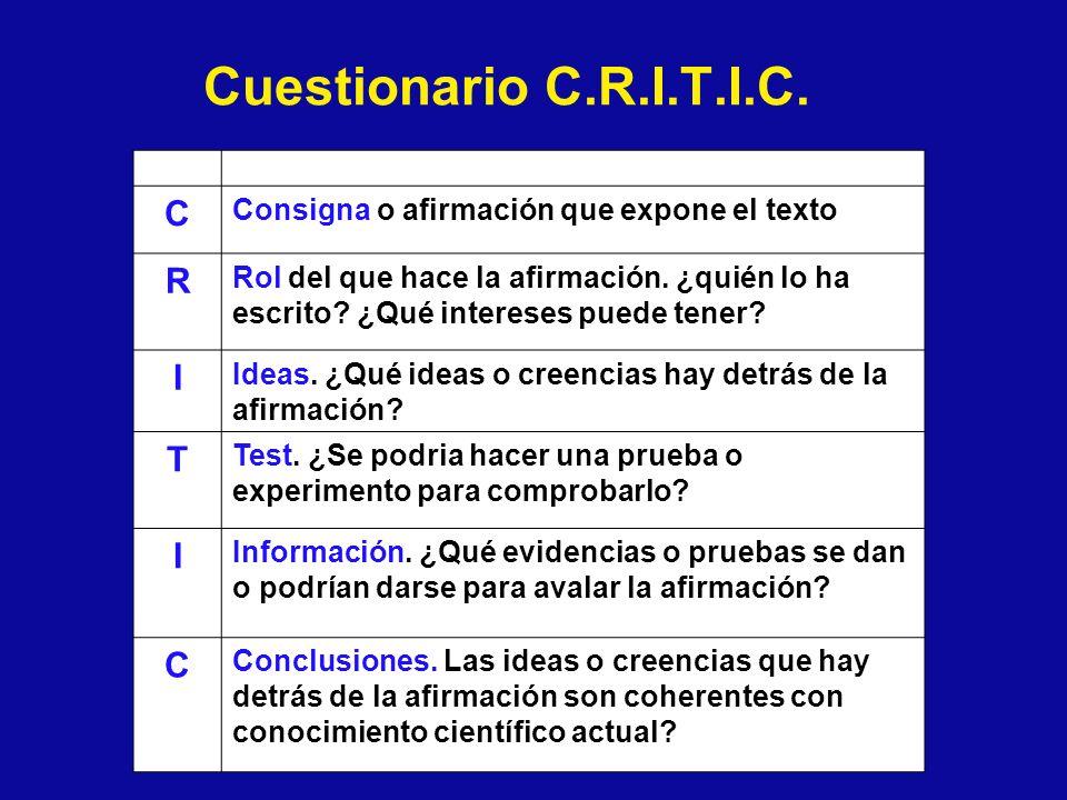 Cuestionario C.R.I.T.I.C. C R I T