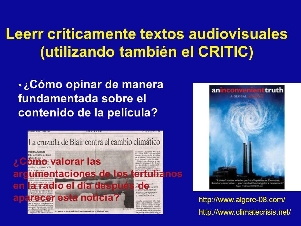 Leerr críticamente textos audiovisuales (utilizando también el CRITIC)