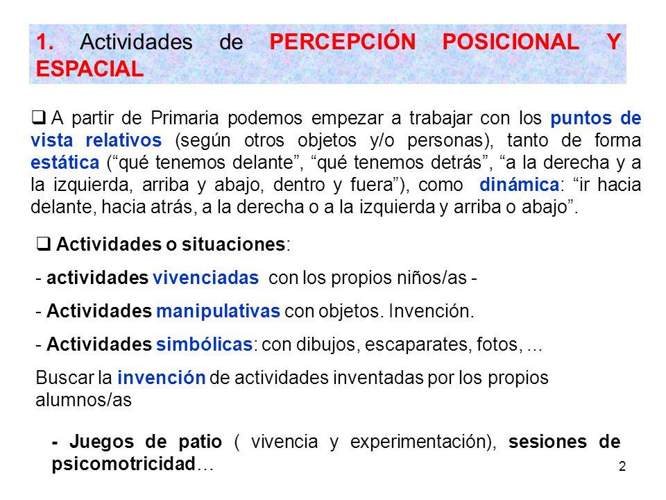 1. Actividades de PERCEPCIÓN POSICIONAL Y ESPACIAL