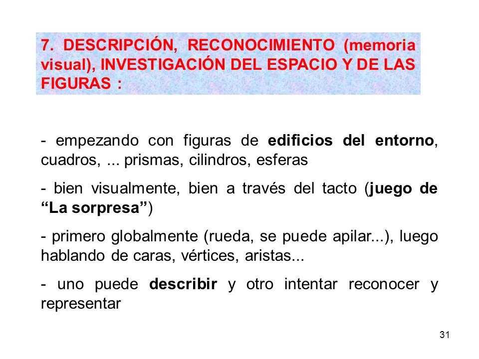 7. DESCRIPCIÓN, RECONOCIMIENTO (memoria visual), INVESTIGACIÓN DEL ESPACIO Y DE LAS FIGURAS :