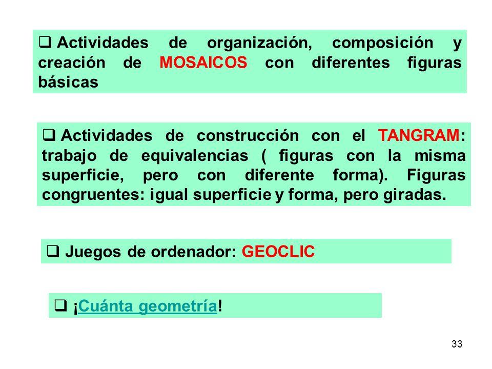 Actividades de organización, composición y creación de MOSAICOS con diferentes figuras básicas