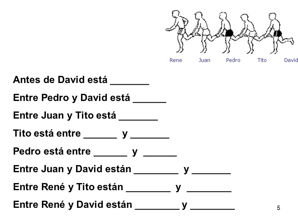 Antes de David está _______ Entre Pedro y David está ______