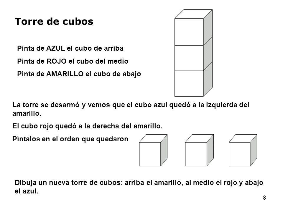 Torre de cubos Pinta de AZUL el cubo de arriba