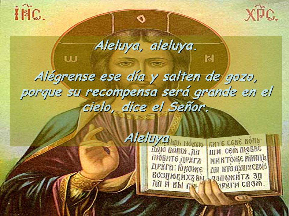 Aleluya, aleluya. Alégrense ese día y salten de gozo, porque su recompensa será grande en el cielo, dice el Señor.
