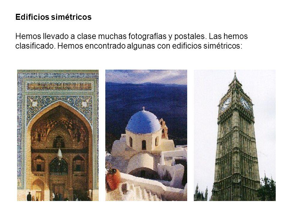 Edificios simétricos Hemos llevado a clase muchas fotografías y postales.