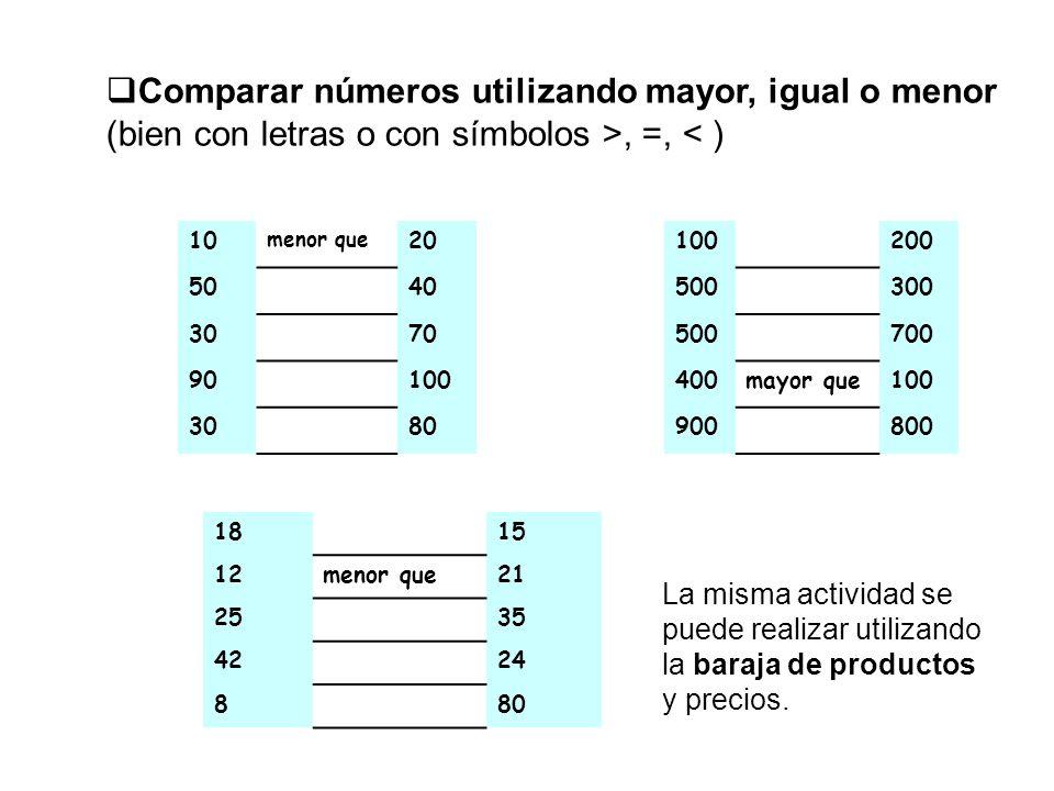 Comparar números utilizando mayor, igual o menor (bien con letras o con símbolos >, =, < )