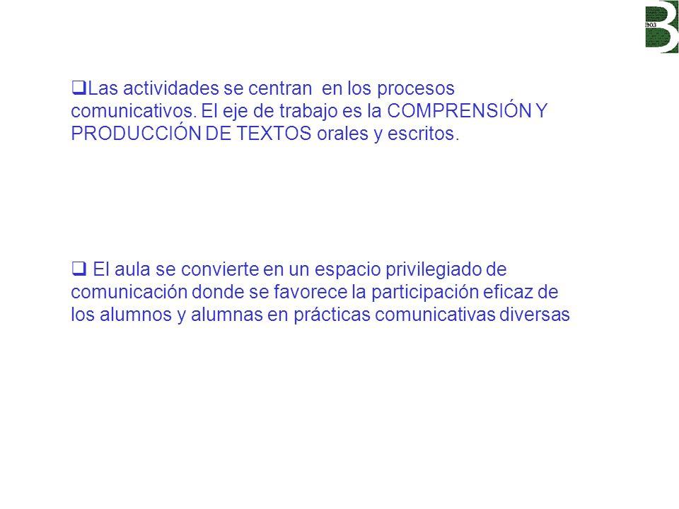 Las actividades se centran en los procesos comunicativos