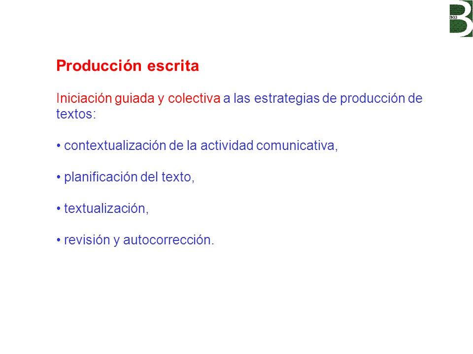 Producción escrita Iniciación guiada y colectiva a las estrategias de producción de textos: contextualización de la actividad comunicativa,