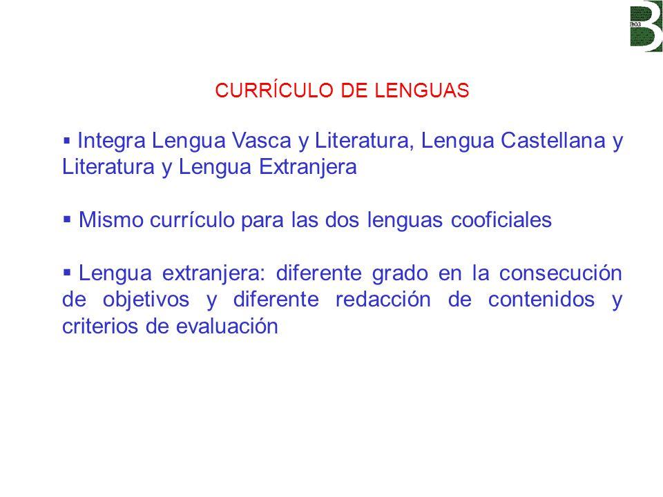 Mismo currículo para las dos lenguas cooficiales