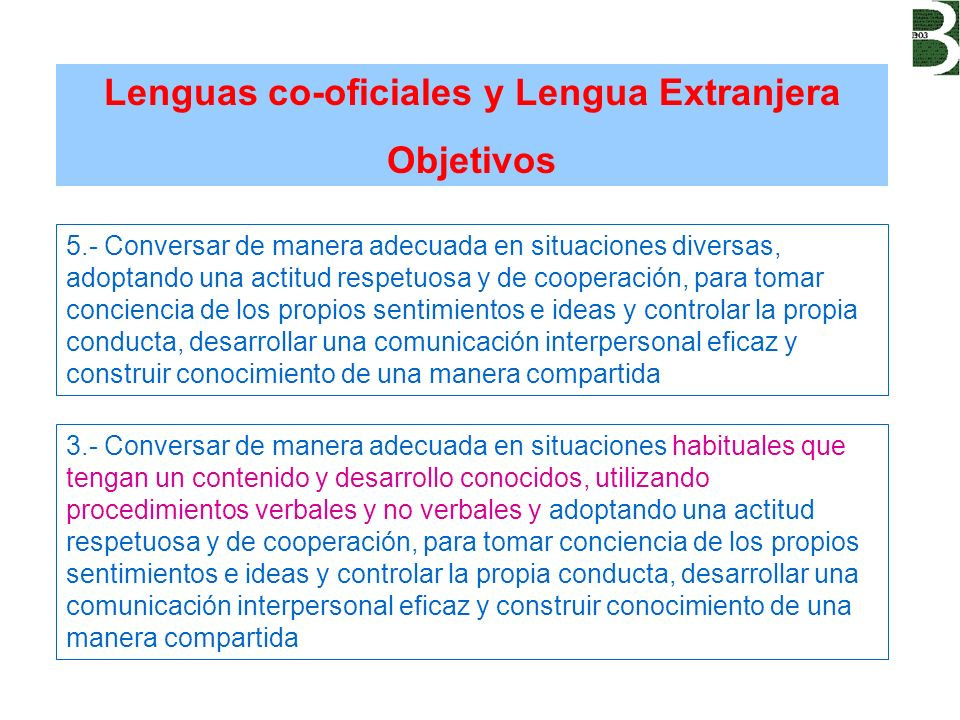 Lenguas co-oficiales y Lengua Extranjera