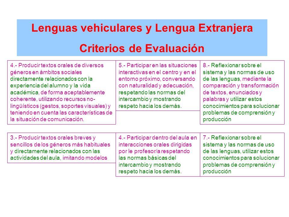 Lenguas vehiculares y Lengua Extranjera Criterios de Evaluación