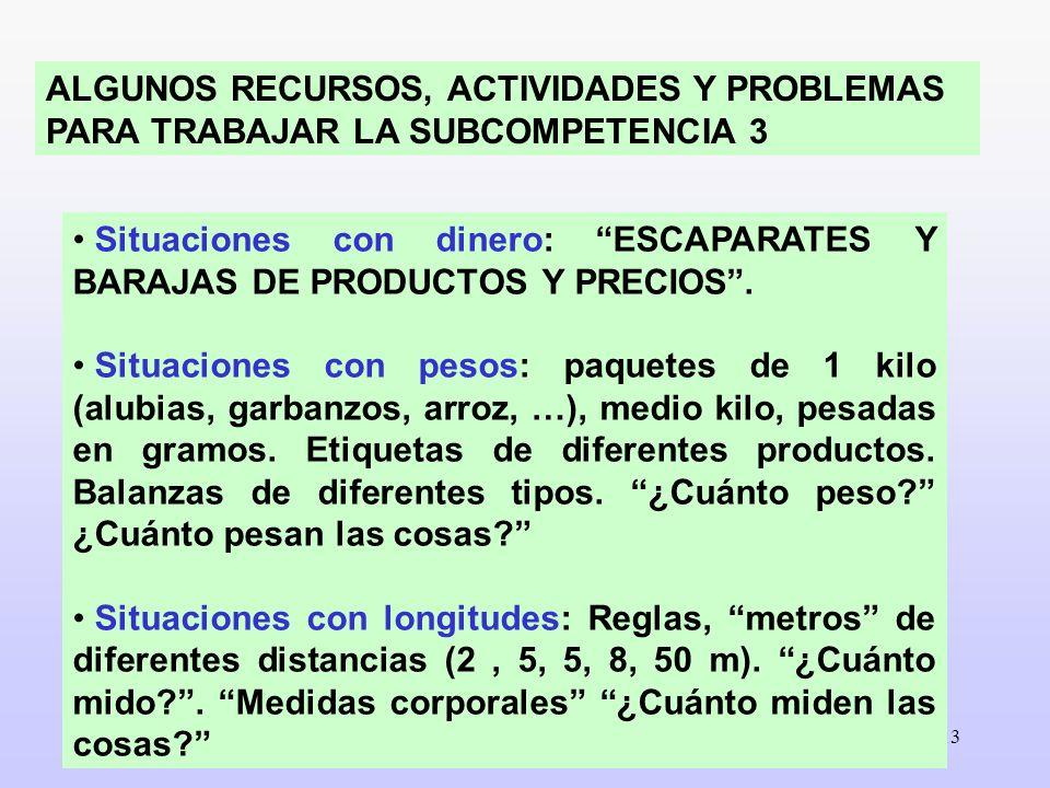 ALGUNOS RECURSOS, ACTIVIDADES Y PROBLEMAS PARA TRABAJAR LA SUBCOMPETENCIA 3
