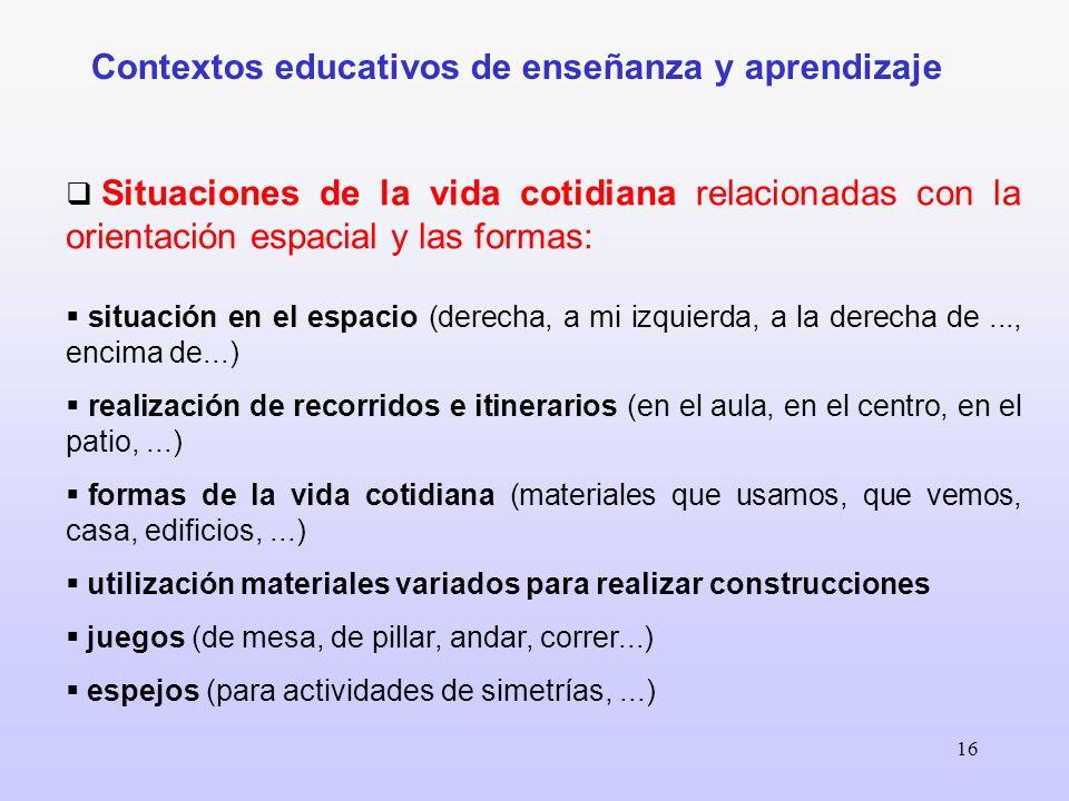 Contextos educativos de enseñanza y aprendizaje