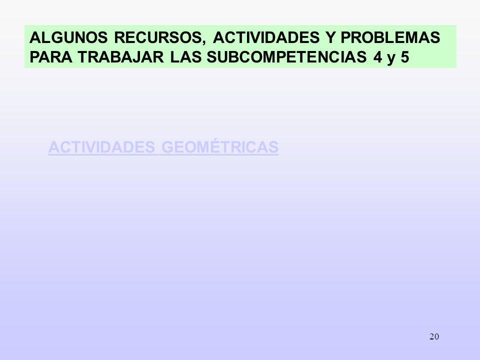 ALGUNOS RECURSOS, ACTIVIDADES Y PROBLEMAS PARA TRABAJAR LAS SUBCOMPETENCIAS 4 y 5