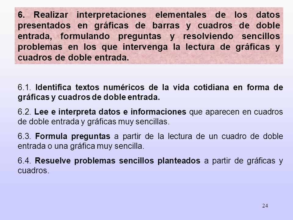 6. Realizar interpretaciones elementales de los datos presentados en gráficas de barras y cuadros de doble entrada, formulando preguntas y resolviendo sencillos problemas en los que intervenga la lectura de gráficas y cuadros de doble entrada.