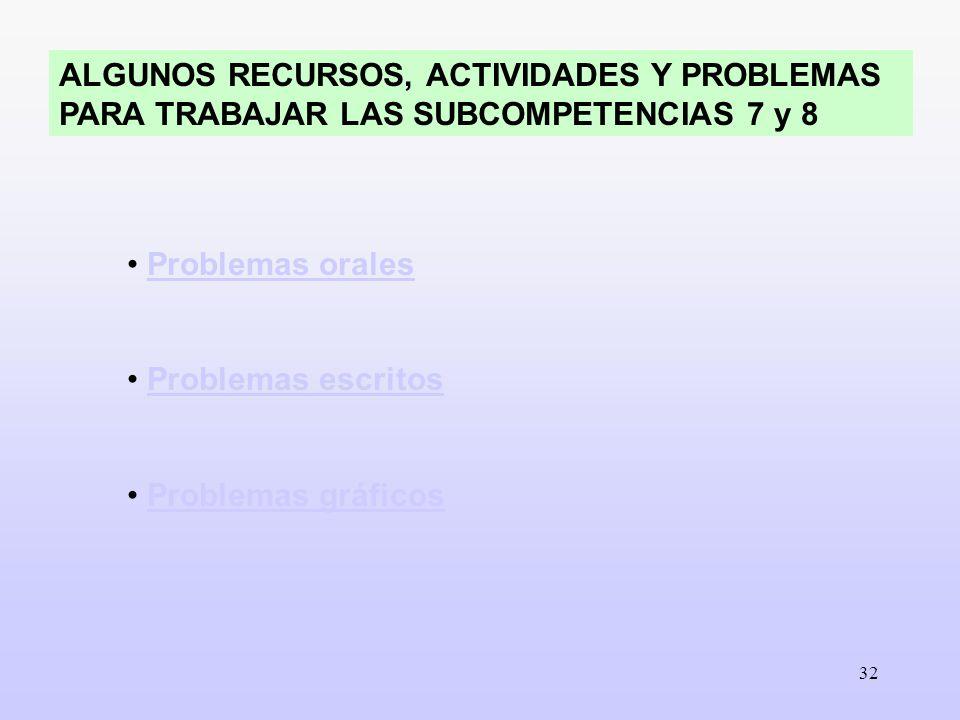 ALGUNOS RECURSOS, ACTIVIDADES Y PROBLEMAS PARA TRABAJAR LAS SUBCOMPETENCIAS 7 y 8