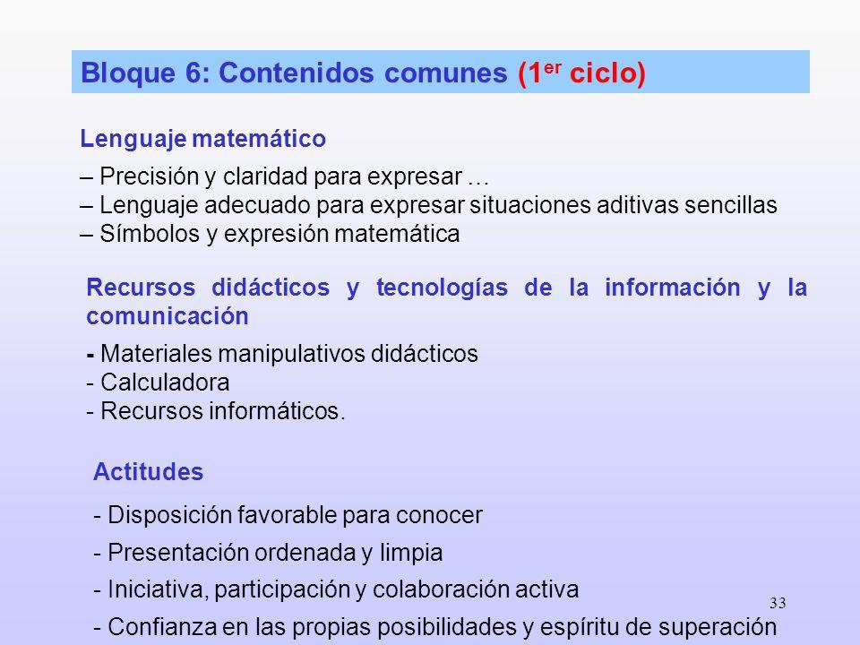 Bloque 6: Contenidos comunes (1er ciclo)