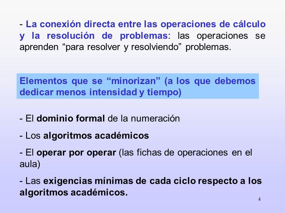 - La conexión directa entre las operaciones de cálculo y la resolución de problemas: las operaciones se aprenden para resolver y resolviendo problemas.