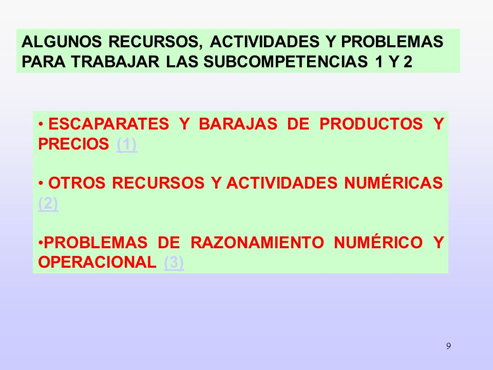 ALGUNOS RECURSOS, ACTIVIDADES Y PROBLEMAS PARA TRABAJAR LAS SUBCOMPETENCIAS 1 Y 2