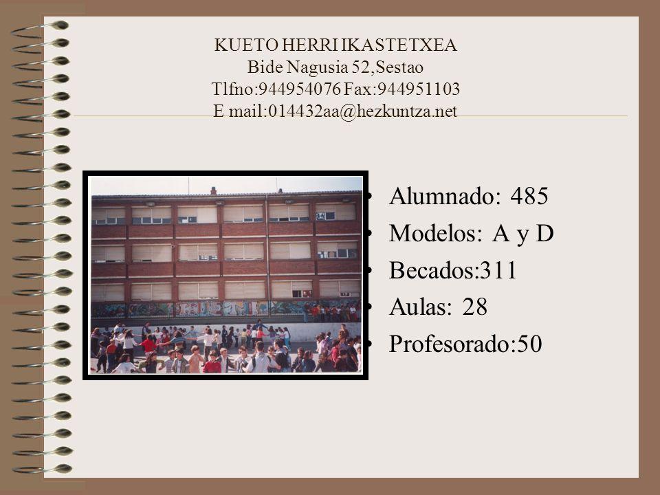 Alumnado: 485 Modelos: A y D Becados:311 Aulas: 28 Profesorado:50