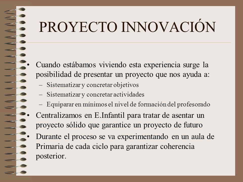 PROYECTO INNOVACIÓN Cuando estábamos viviendo esta experiencia surge la posibilidad de presentar un proyecto que nos ayuda a: