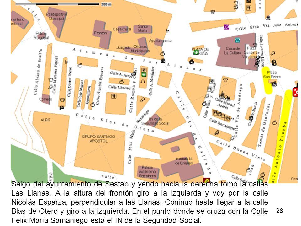 Salgo del ayuntamiento de Sestao y yendo hacia la derecha tomo la calles Las Llanas.